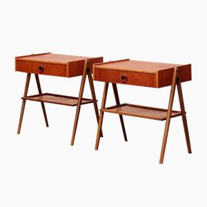 Tables de Chevet en Teck et Osier, Danemark, 1960s, Set de 2