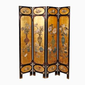French Lacquered Golden Chinoiserie Screen, 1950s