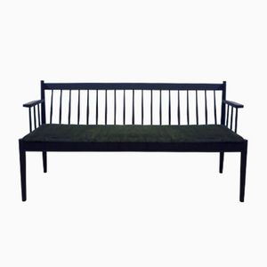 Mid-Century Black Wooden Bench