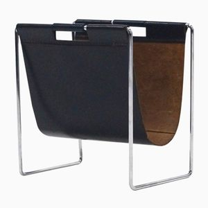 Leather & Chrome Magazine Rack from Brabantia, 1970s