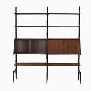 Teak Wall Unit by Louis van Teeffelen for WeBe, 1950s