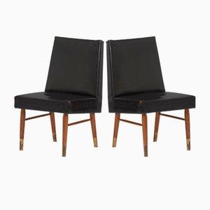 Chaises Vintage en Cuir Noir, Set de 2