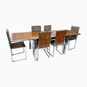Italian Burr Walnut Dining Table and Chairs from La Metal Arredo, 1970s