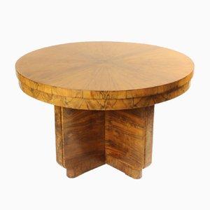 Großer Vintage Art Deco Walnuss Furnier Spieltisch