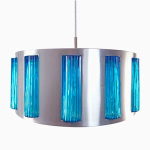 Swedish Modern Blue Glass Drum Pendant from Orrefors, 1960s