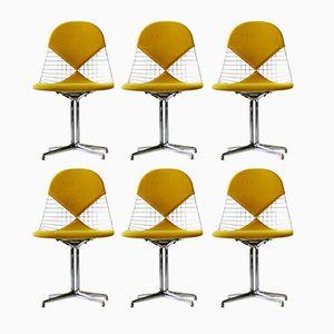 Mid-Century Wire Bikini Beistellstühle mit La Fonda Base von Charles & Ray Eames für Herman Miller, 6er Set