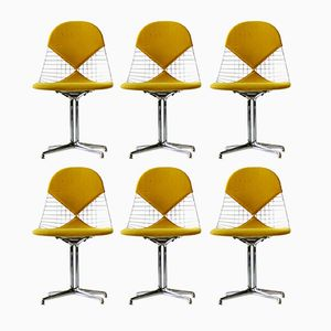 Mid-Century Wire Bikini Side Chairs with La Fonda Base by Charles & Ray Eames for Herman Miller, Set of 6
