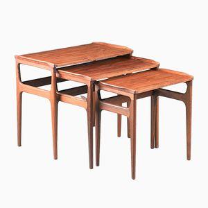 Rosewood Nesting Tables by Erling Torvits for Heltborg Møbler, 1960s