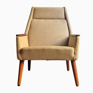 Danish Teak and Linen Easy Chair, 1950s