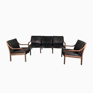 Vintage Art Collection 3-Sitzer Sofa & 2 Armlehnstühle von Jørgen Kastholm & Preben Fabricius für Walter Knoll/ Wilhelm Knoll