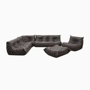 Vintage Graphite Leather Togo Sofa Set by Michel Ducaroy for Ligne Roset, 1970s