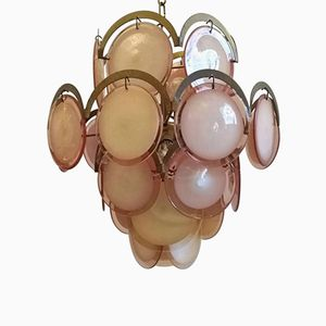 Pink Disc Chandelier by Gino Vistosi, 1970s