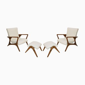 Coutour Lounge Chairs and Ottomans by Vladimir Kagan, Set of 2