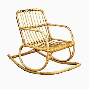 Vintage Rattan Children's Rocking Chair