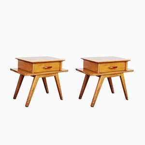 Vintage Scandinavian Nightstands with Compass Feet, Set of 2