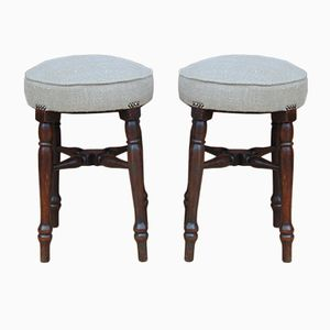 English Bar Stools, 1920s, Set of 2
