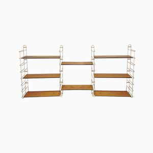 Mid-Century Modular Wall Unit in Gold Metal & Wood