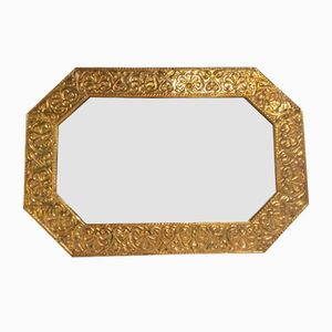 Antique Arts and Crafts Brass Wall Mirror, 1910s