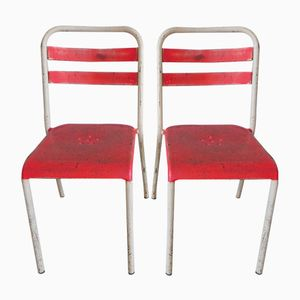 Steel Industrial Cafe Chairs, 1950s, Set of 2