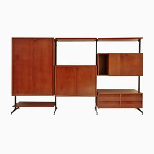 Italian Wall Unit with Metal Uprights, 1950s