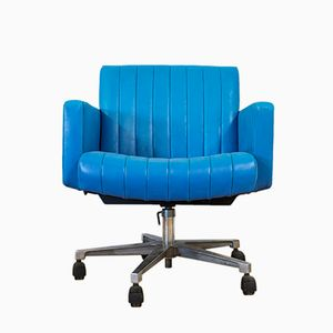 Vintage Turquoise Leather Swivel Desk Chair