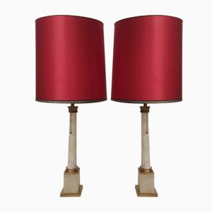 Large Neoclassical Marble Brass Table Lamps, 1960s, Set of 2