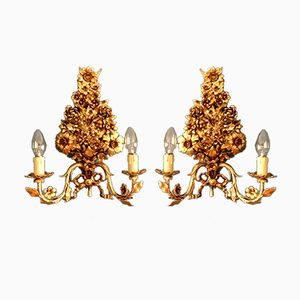 Floral Italian Gold Plated Wall Lamps, 1950s, Set of 2