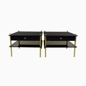 Vintage Night Stands in Mirrored Glass & Brass, Set of 2
