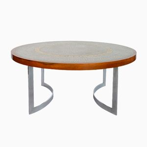 Round Mosaic Coffee Table with Nickel Base by Berthold Muller, 1966