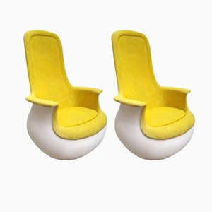 Gelbe Culbuto Sessel von Marc Held für Knoll Inc. / Knoll International, 1970er, 2er Set