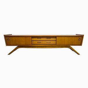 Vintage Danish Compact Low Teak Sideboard