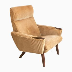 Danish High-Backed Corduroy Armchair with Teak Legs, 1960s