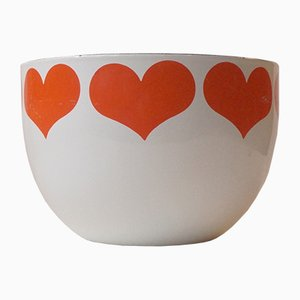 Mid-Century Enamel Heart Bowl by Kaj Franck for Arabia Finel, 1960s