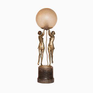 Art Deco Lamp with Figurines, 1930s
