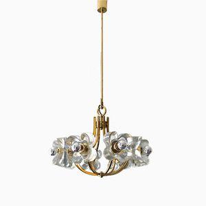 Mid-Century Modern Brass & Crystal Glass Chandelier from Mazzega