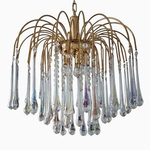 Gold Plated Chandelier with Glass Teardrops and Crystal Stones by Paolo Venini for Murano, 1970s