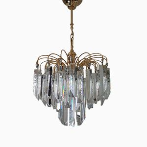 Gold-Plated and Chrome Chandelier with Prism Glass by Paolo Venini, 1980s