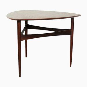 Dänischer Vintage Teak Beistelltisch mit Dreieckiger Tischplatte