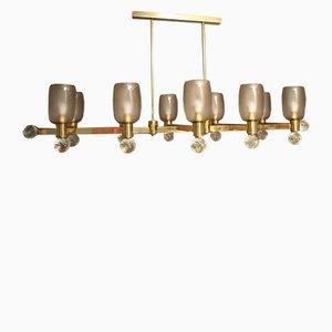 Vintage Large Brass & Grey Murano Glass Oval Chandelier