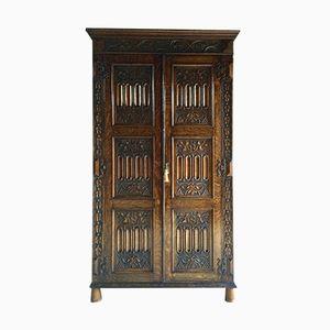 Antique Carved Oak Wardrobe, 1890s