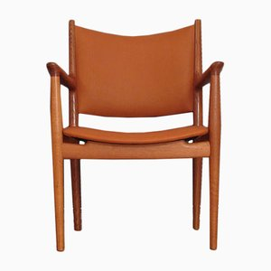 JH513 Oak & Leather Armchair by Hans Wegner for Johannes Hansen