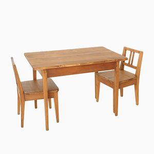 Tavolo e siede da bambino vintage, set di 3