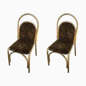 Gilt Metal Faux Bamboo Chairs, 1970s, Set of 2