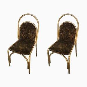 Vergoldete Metall Stühle in Bambus- Optik, 1970er, 2er Set