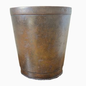 Vintage Leather Waste Paper Basket with Decorative Seam, 1960s
