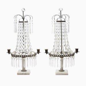 Lampes de Table pour Bougies Prism Antique, Suède, Set de 2