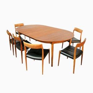 Sedie nr. 7 e tavolo di Niels Moller per J.L Mollers, anni '60, set di 7