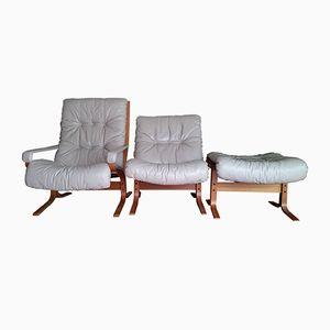 Set da salotto Siesta vintage in pelle di Ingmar Relling per Westnofa