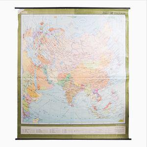 Carta geografica vintage dell'Asia, anni '60