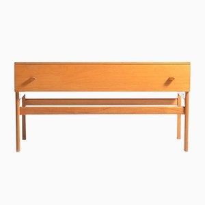 Langer Furnierter Holz Nachttisch mit Schublade von Jitona, 1960er